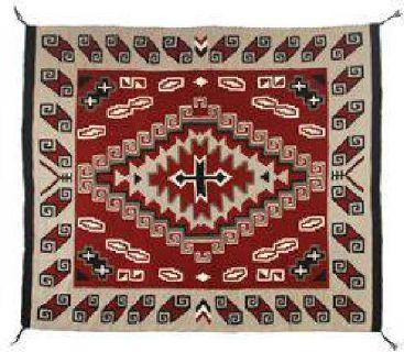 """$300 Navajo Ganado Weaving, 7'8"""" x 6'8"""""""