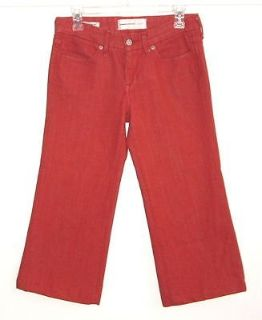 Paper Denim & Cloth Brick Red JAYNE Wide Leg Jean Capri Pants Tag 27 Measures 28