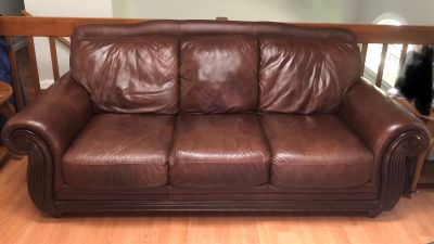 4 piece brown leather living room set