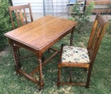 Antique Library Table & Chairs