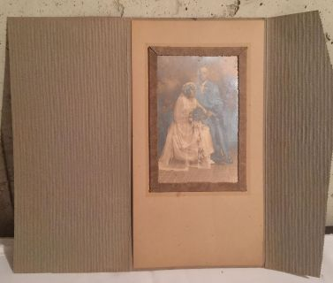 Antique Wedding Photo photo measures 6.5x4.5 overall measures 11x13 opened