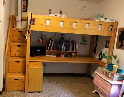 Loft Bed (twin) with Desk & Book case
