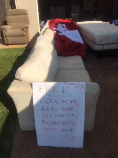 free couch, free mattress, free recliner