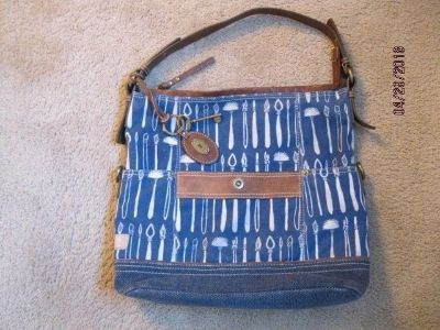 large fossil blue white and brown tote handbag, euc
