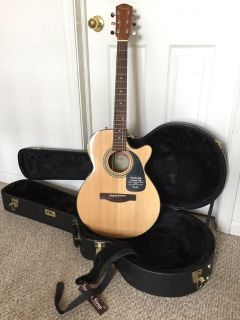 NEW Fender GC-140SCE Grand Concert Acoustic-Electric Cutaway GUITAR, HARD CASE & STRAP