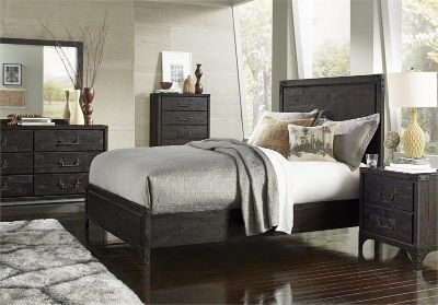 SALE! UPSCALE SOLID DISTRESSED WOOD QUEEN BED FRAME! MY M. INTERNATIONAL!