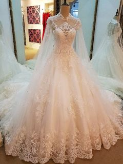 Dakota's Lace Applique A Line Wedding Gown Without Train