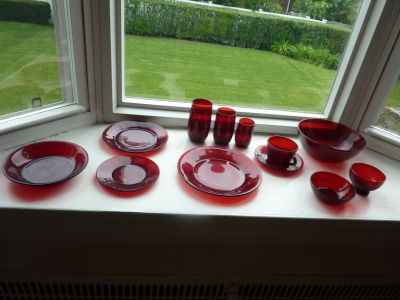 Vintage Royal Ruby Red Anchor Hocking Dishes, Glasses and Serving Pieces
