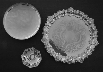 3 silver plated, 2 bowls & platter.