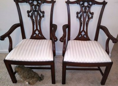 6 Mahogany Chippendale carved dining room chairs