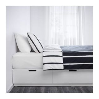 IKEA queen white bed frame with storage