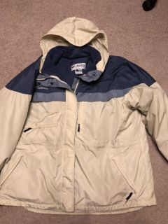 Columbia 3 in 1 Women s Winter Coat color Ivory with blues size XXXL