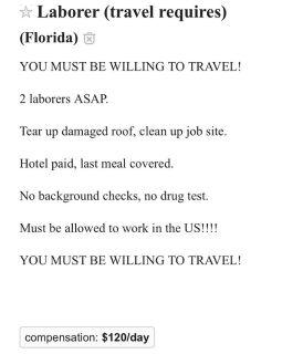 Laborer travel required