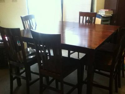 Table with 6 Chairs, Solid Wood
