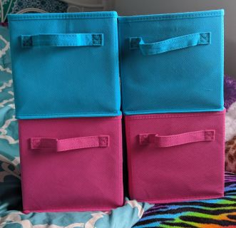 Set of 4 fabric bins - smaller size