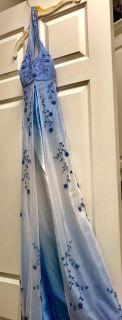 Blue and White Long Dress