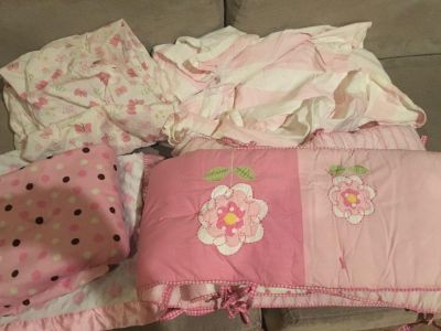 Pottery Barn Bed Skirt and Bumpers, two baby blankets and two fitted sheets