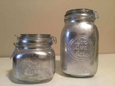 Brand New LIVE LOVE EAT 2-Piece Mercury Glass Kitchen Canister Set