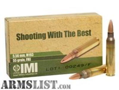For Sale: 25cts a rd IMI M193 5.56 M193 Ball FMJBT 55gr - 20rd Box