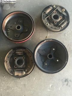 4 lug brake drums, backing plates, shoes, cylinder