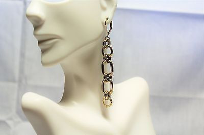 gold tone drop dangle hook leverback chain link 3""