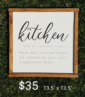 New!! Painted Wood Framed Sign!