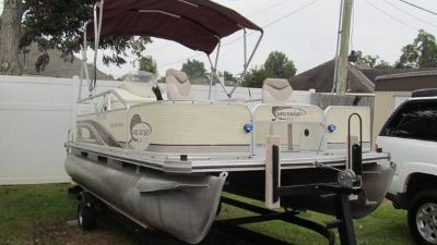 Lowe fishingcruising pontoon,  Johnson outboard