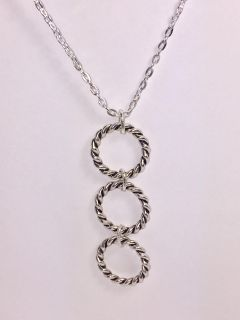 Silver Plated Necklace with Antique Silver hoops