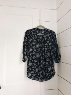 Navy and Pink Floral Blouse (S)