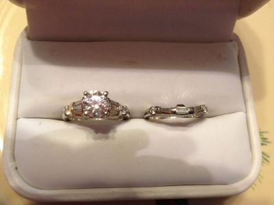 Engagement ring and matching wedding bands