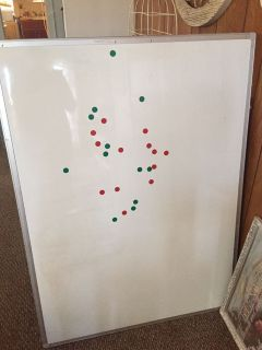 Large dry erase board. Dots are magnets.