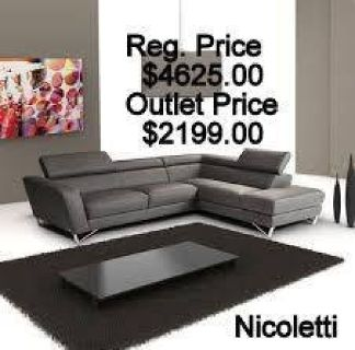Nicoletti Leather Delancey Sofa Sectional - Furniture Now <== Leather Outlets