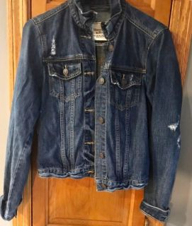 Abercrombie and Fitch distressed denim jacket size medium