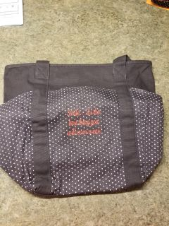 New Thirty-One Go To Tote, giftable in bag, with monogram quote in red, more pics in comments, smoke free home,