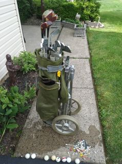 Vintage Full Set Golf Clubs w Bag Cart Extras Right handed