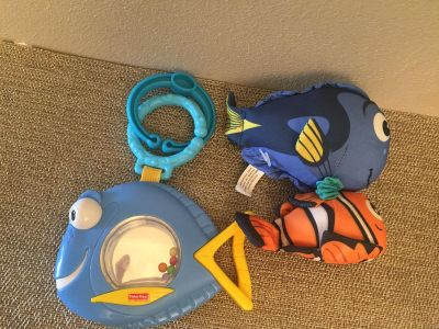 FISHER PRICE FISH RATTLE and DISNEY FINDING NEMO PULL DOWN TOY VIBRATES BACK UP