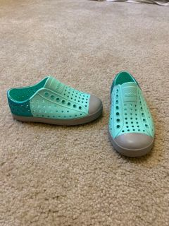 Sparkly Teal Native Shoes, size C10
