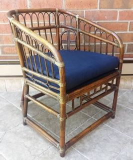 Vintage Brighton Chinoiserie Style Rattan Bamboo Lounge Chair