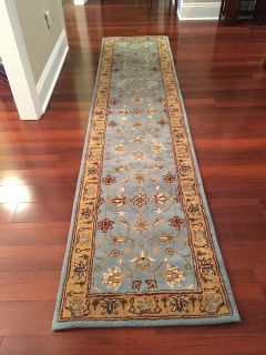 """New Safavieh Heritage Collection Oriental Blue and Gold Wool Runner 2'3"""" x 10'"""