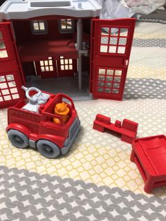Green Toys fire station and truck