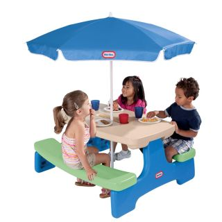 NEW Little Tikes Easy Store Picnic Table with Umbrella - Blue/Green