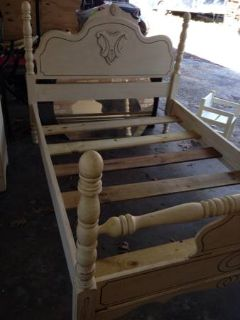 Sold wood refinished full size bed