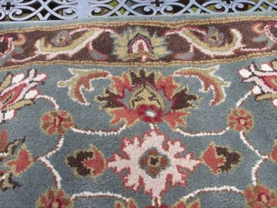 """Handmade Traditional Oriental Blue and Brown Wool Area Rug (2'3"""" x 4')"""
