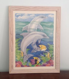 Dolphin Picture with Tropical Fish in Beachwood Colored Wood Frame