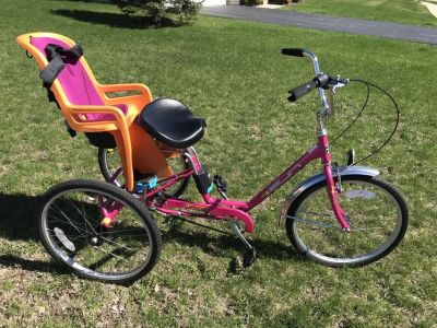 Sun adult trike and Thule child seat attachment