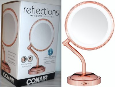New! Conair LED 1X/5X Rose Gold Makeup Mirror