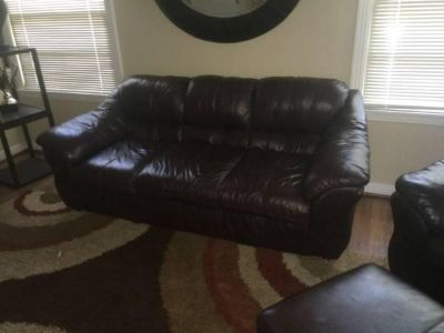 $400, Brown Leather Couch and Chair