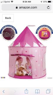 Princess castle play tent - used