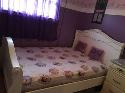 Dresser with mirror, nightstand,full bed, plus the mattress
