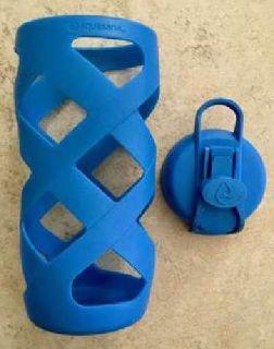 Aquasana Clean Glass Filter Bottle - Blue - Sleeve and Flip Top Cap